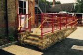 Red guardrail and yellow guardrail & handrail