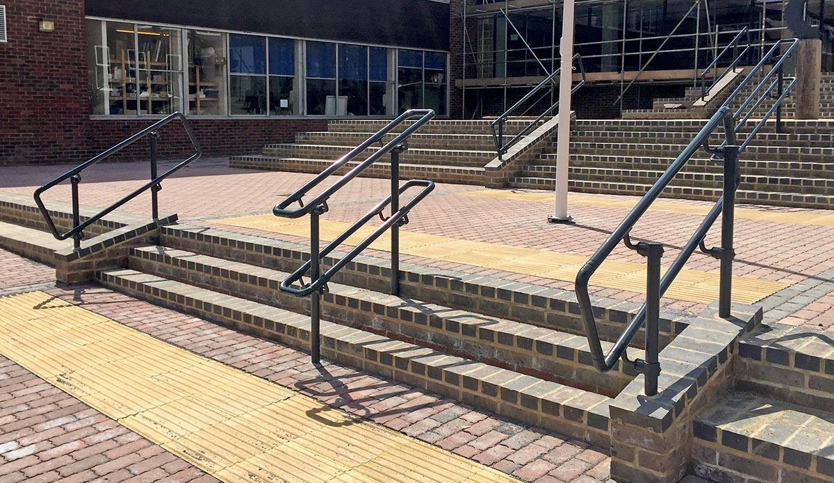 Gray handrails