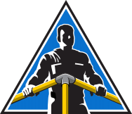 Triangular illustration of a guy with a guardrail